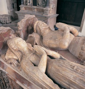 The effigies of sir Wiliam ap Tomas of Raglan and his wife, Gwladus, at the Priory Church of St Mary, Abergavenny, middle of the 15th century.