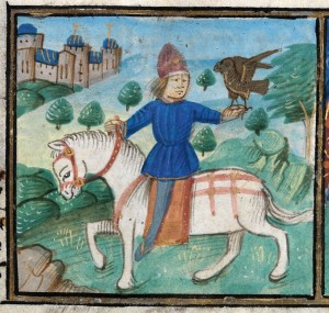 A falconer riding his horse to show the month of May in a calendar in the 'De Grey Book of Hours', NLW MS 15537C, f.5.