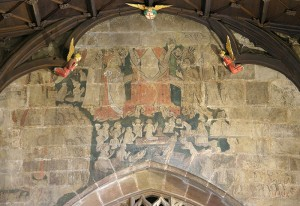 A wallpainting of The Last Judgement at St Giles' Church, Wrexham.