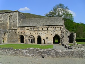The east claustral range of Valle Crucis abbey.