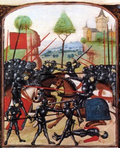 A reproduction of the 'Battle of Barnet' in a Ghent MS 236, end of the 15th century.