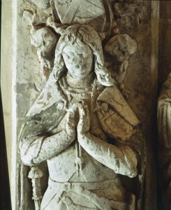 The effigy of Sir Rhys ap Tomas in St Peter's Church, Carmarthen.