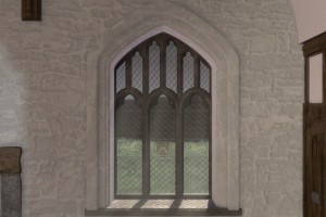 The main window at Cochwillan in the animated recreation of the building.